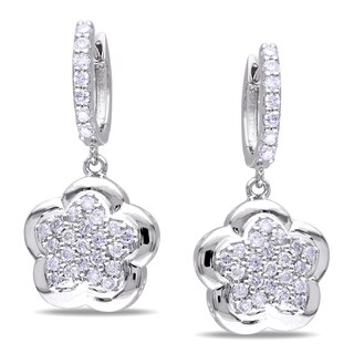 Miadora Signature Collection 14k White Gold 1ct TDW Diamond Dangle Earrings