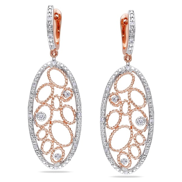 Miadora Signature CollectionMiadora 14k Rose Gold 1/6ct TDW Diamond Dangle Earrings