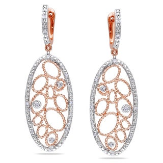 Miadora Signature Collection Miadora 14k Rose Gold 1/6ct TDW Diamond Dangle Earrings (G-H, SI1-SI2)
