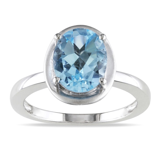 Miadora Sterling Silver Sky Blue Topaz Cocktail Ring
