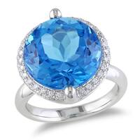 Miadora 14k White Gold Blue Topaz and 1/4ct TDW Diamond Ring (G-H, SI1-SI2)