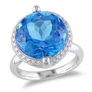 Miadora 14k White Gold Blue Topaz and 1/4ct TDW Diamond Ring (G-H, SI1-SI2)