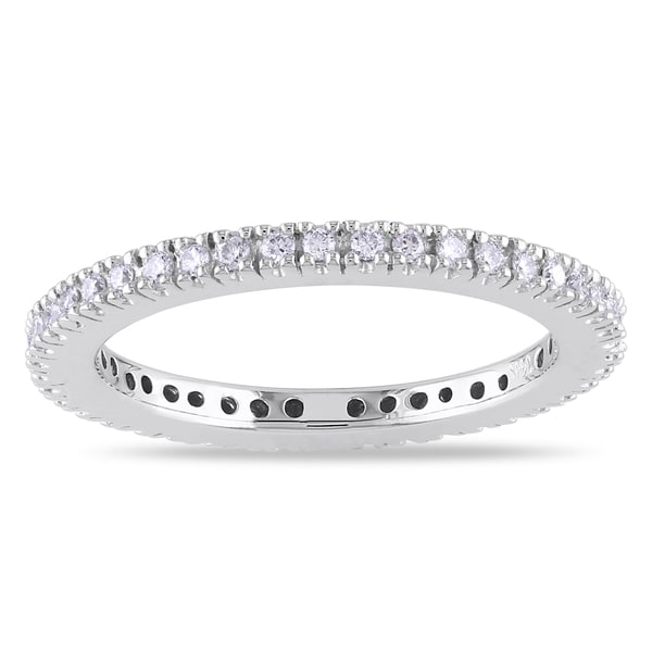 Miadora 14k White Gold 1/4ct TDW Diamond Eternity Ring