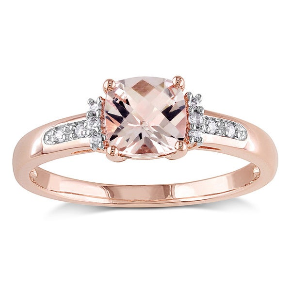 Miadora 10k Rose Gold Cushion-cut Checkerboard Morganite with Diamond Accents Engagement Ring (G-H, I2-I3)