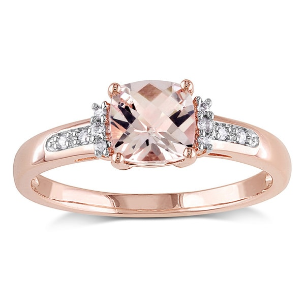 10k Rose Gold Cushion-Cut Checkerboard Morganite with Diamond Accents Engagement Ring by Miadora