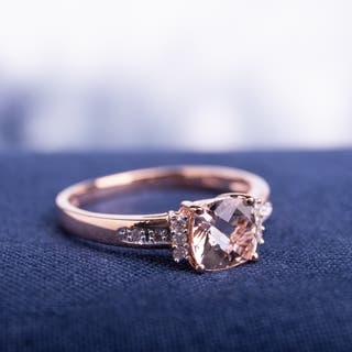 miadora 10k rose gold cushion cut checkerboard morganite with diamond accents engagement ring g h - Rose Wedding Rings