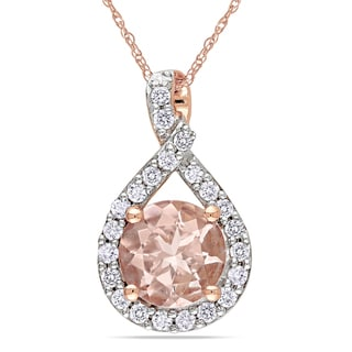 Miadora 10k Rose Gold Morganite and 1/5ct TDW Diamond Necklace (H-I, I2-I3)