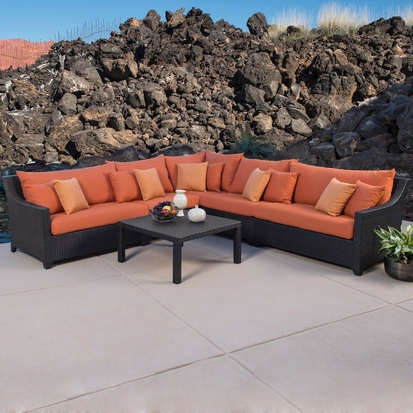 RST Outdoor Tikka 6 Piece Corner Sectional Sofa and Coffee Table Pa