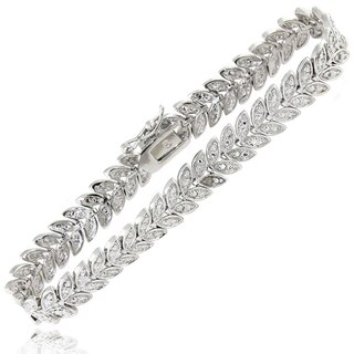 Finesque Gold or Silver Overlay Diamond Accent Leaf Bracelet (More options available)