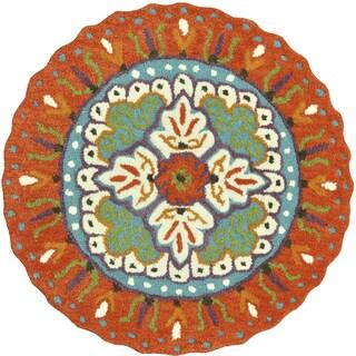 Hand-tufted Penelope Orange/ Ivory Wool Rug (3' x 3')