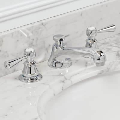 Water Creation American 20th Century Classic Widespread Lavatory Faucet with Pop-Up Drain in Chrome Finish