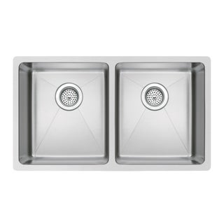 Water Creation 31-inch X 18-inch 50/50 Double Bowl Stainless Steel Hand Made Undermount Kitchen Sink With Coved Corners