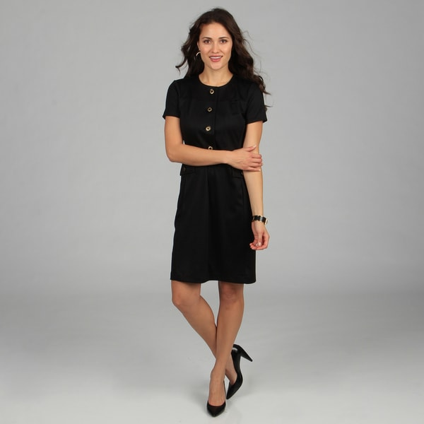 CeCe's New York Women's Black Button-front Dress