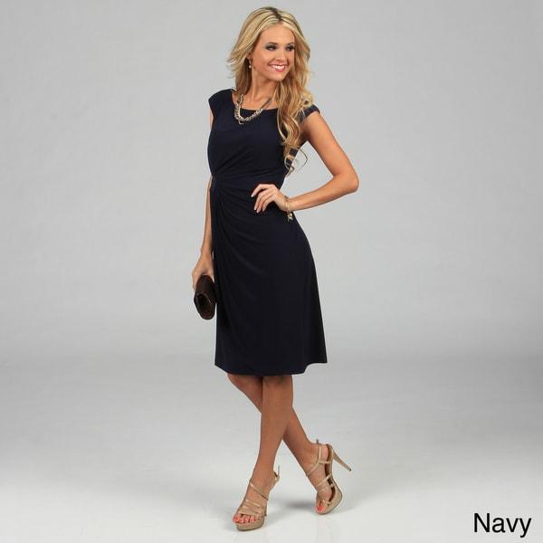 Connected Apparel Women's Cap Sleeve Side-drape Dress