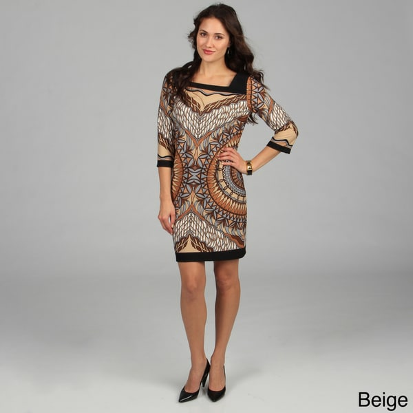 Women's Pink 3/4 Sleeve Mosaic Printed Dress
