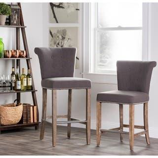Rafa Grey Upholstered 30-inch Barstool by Kosas Home|https://ak1.ostkcdn.com/images/products/7649709/P15065294.jpg?impolicy=medium