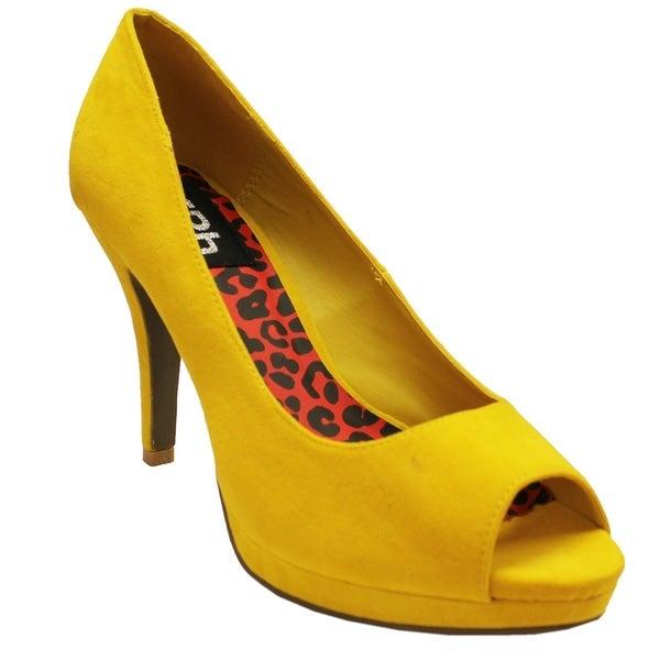 Fahrenheit Women's 'Deni-01' Mustard Peep-toe Heels
