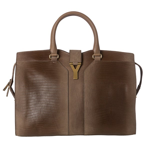 Yves Saint Laurent 'Cabas ChYc' Large Taupe Embossed Leather Tote Bag