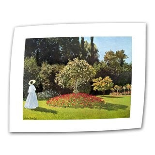 Claude Monet 'Woman in Park with Poppies' Flat Canvas - Multi