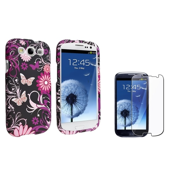 INSTEN Butterfly Phone Case Cover/ Screen Protector for Samsung Galaxy S III/ S3