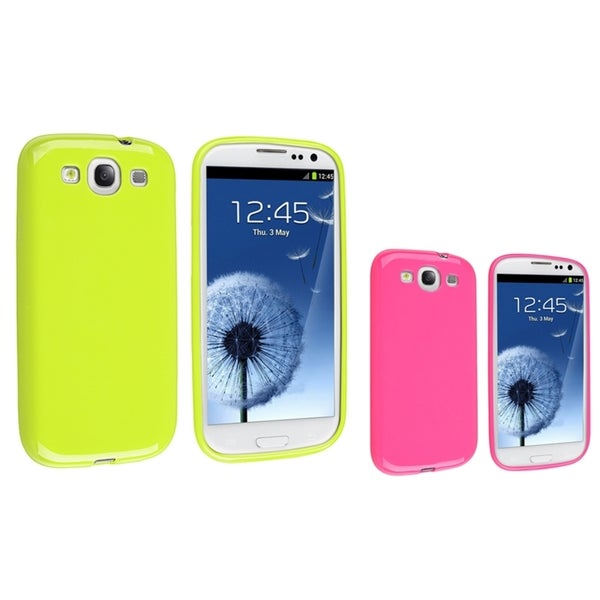 INSTEN Green TPU Phone Case Cover/ Pink TPU Phone Case Cover for Samsung Galaxy S III/ S3