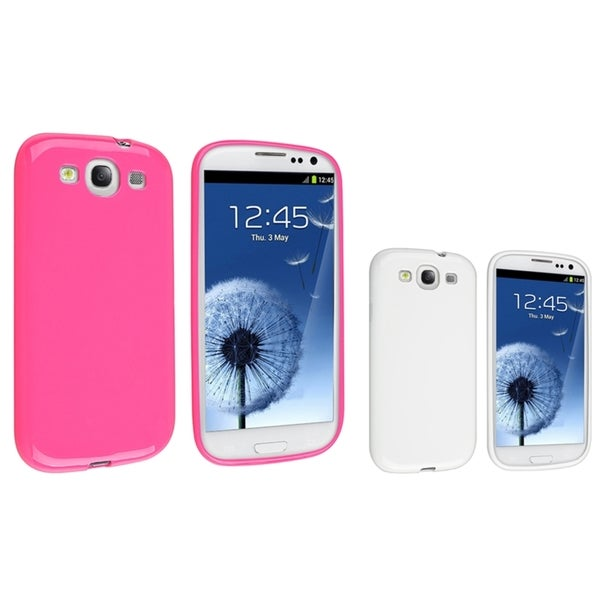 INSTEN Pink TPU Phone Case Cover/ White TPU Phone Case Cover for Samsung Galaxy S III/ S3