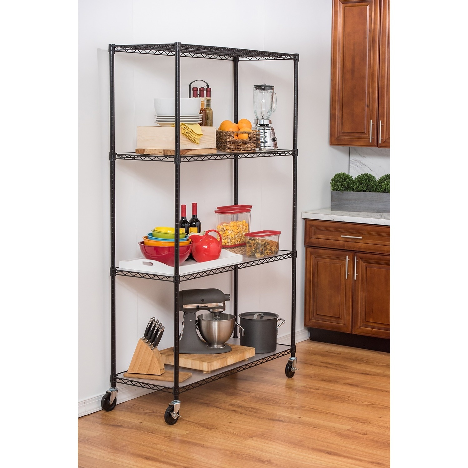 Trinity 4-Tier Black Wire Shelving with Wheels and Liners...