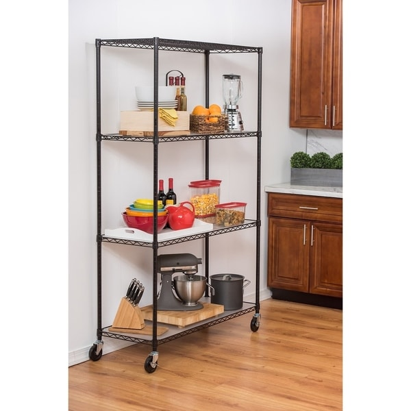 Trinity 4-Tier Black Wire Shelving with Wheels and Liners