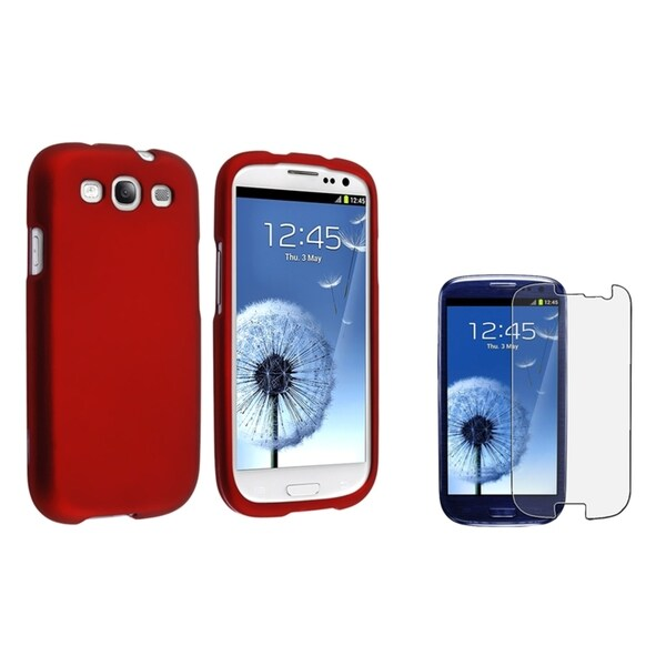 INSTEN Red Phone Case Cover/ Anti-glare LCD Protector for Samsung Galaxy S III/ S3