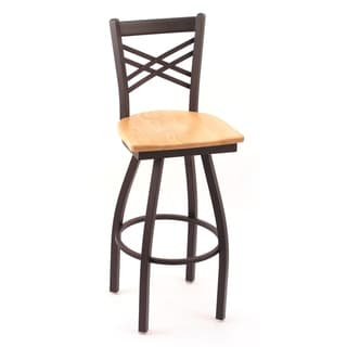 Cambridge Natural Oak Extra Tall Lattice-back Swivel Barstool