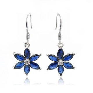 De Buman Sterling Silver Sapphire and Diamond Earrings