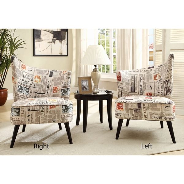 Elegant Accent Chair with Flaired Back in Newsprint Fabric