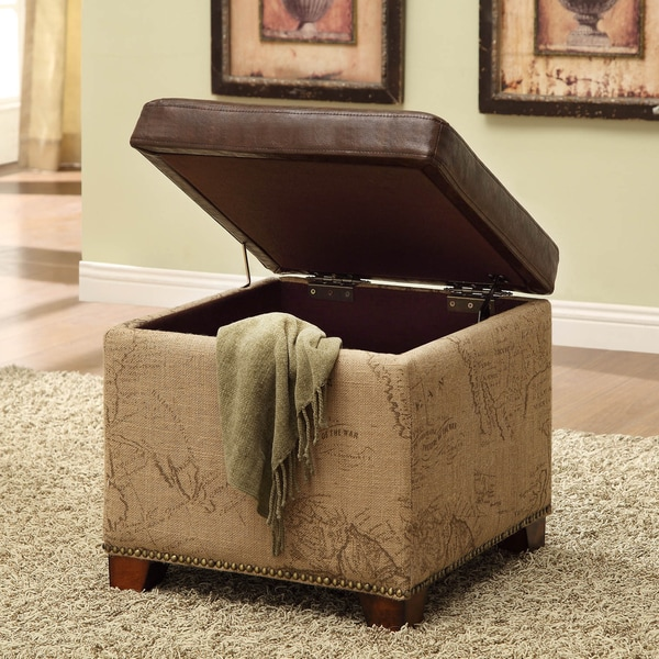 Antique Brown Natural Jute and Leather Storage Ottoman