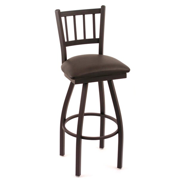 Cambridge Black Extra Tall Horizontal Slat-back Swivel Barstool