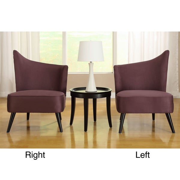 Flared Back Purple Microfiber Accent Chair