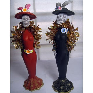 Handmade Set of 2 Ceramic Catrina Figures (Mexico)