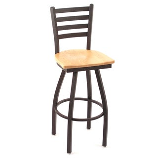 Cambridge Natural Oak Extra Tall Horizontal Slat-back Swivel Barstool