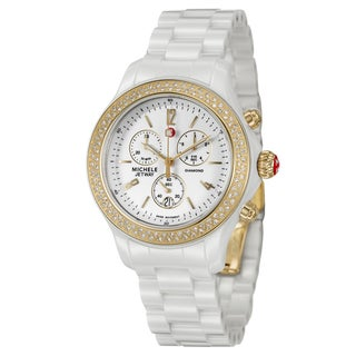 Michele Women's 'Jetway' Stainless Steel and Ceramic White Diamonds Watch