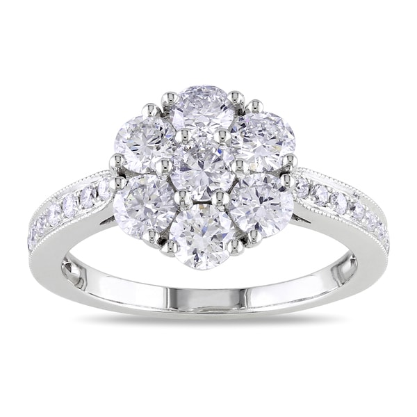 Miadora 14k White Gold 1 1/2ct TDW Diamond Cluster Ring (G-H, SI1-SI2)