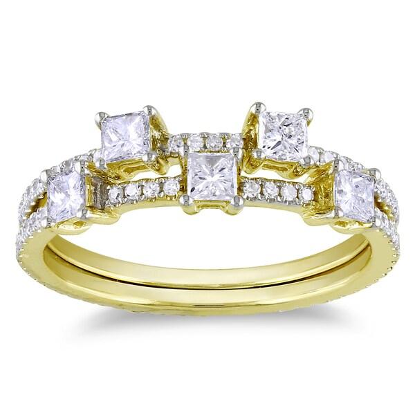 Miadora 14k Yellow Gold 7/8ct TDW Diamond Stackable Ring Set