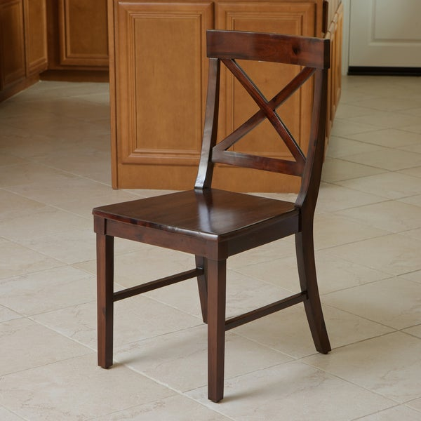 Bella Crossback Acacia Wood Dining Chair by Christopher Knight Home