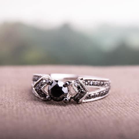 Miadora Sterling Silver 1ct TDW Black Diamond Split Shank Engagement Ring