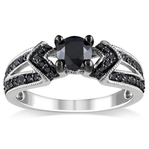 Miadora Sterling Silver 1ct TDW Black Diamond Split Shank Engagement Ring