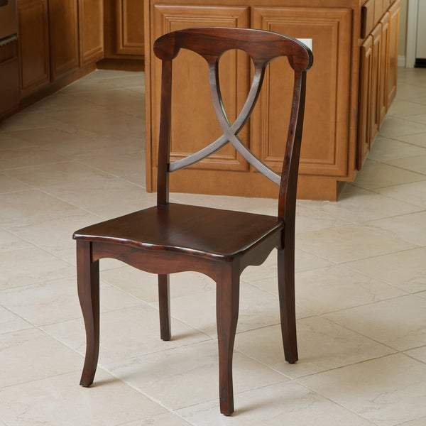 Flora Crossback Acacia Wood Dining Chair by Christopher Knight Home
