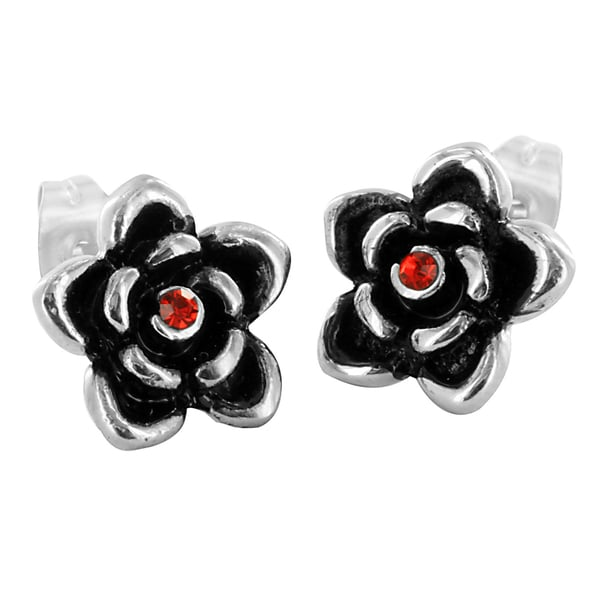 Stainless Steel Red Cubic Zirconia Rose Earrings