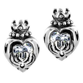 Stainless Steel Cubic Zirconia Crowned Heart Earrings
