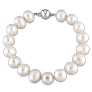 M by Miadora Sterling Silver White Cultured Freshwater Pearl Bracelet (10-11 mm)