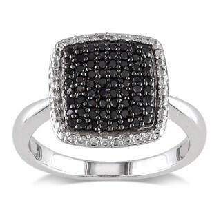 Miadora Sterling Silver 1/3ct TDW Black Diamond Cocktail Ring