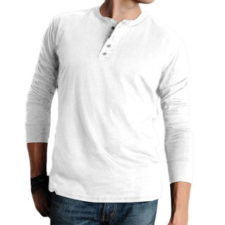 Canvas Men's Cotton Long-sleeved Henley Shirt (More options available)