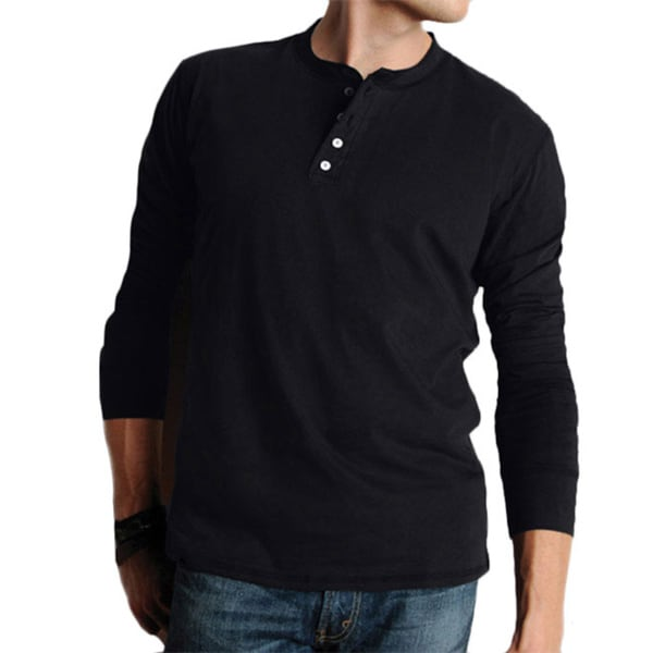 Canvas men 39 s cotton long sleeved henley shirt free for Men s thermal henley long sleeve shirts